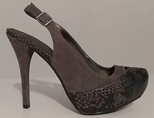 "NEW!! Qupid Gray Sling Back Pumps 5"" Heels Size 7.5M US 37.5M EUR"