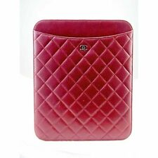 AUTHENTIC Chanel Dark Red Quilted Lambskin 2011 Tablet Ipad Holder Case