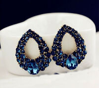 1Pair Fashion Womens Blue Rhinestone Crystal Drop Gold Plated Ear Studs Earrings