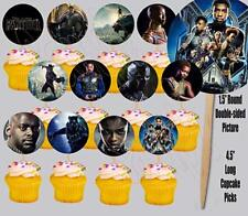BLACK PANTHER Party CAKE Topper Decoration DOUBLE SIDED Cupcake Pics 12pcs Favor