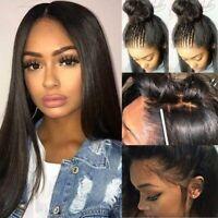 Glueless 100% Virgin Brazilian Human Hair Lace Front  Hair Wigs Straight US