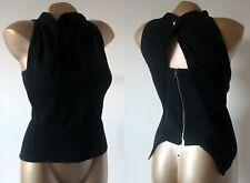 Roland Mouret Black Top Blouse Size UK 12 Tailored High Neck Peplum