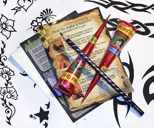 Henna Mehndi Tattoo Kit : 2 x Cones, Designs, Stencil Set, Full Instructions twb