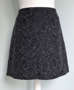 JIGSAW Black Grey Wool Rich Floral Jacquard A-Line Skirt UK 12 Made In Britain