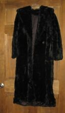 CARLY MONTEREY FASHIONS USA FAUX FUR LONG COAT WITH COLLAR  VTG BLACK SIZE 6
