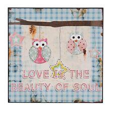 NEU Shabby Holzbild Wandbild Love Is The Beauty Of Souls Eulen 25x25cm Holz NEU