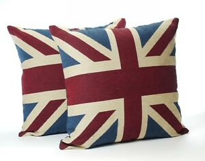 A Pair of Vintage Union Jack Cushions Complete with  Quality Pad