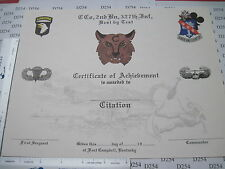 Army Obs. 327th Infantry 2nd Bn 101st Airborne Blank Achievement CERTIFICATE