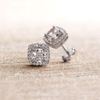 1.0 CT Halo Princess Pushback Stud Earrings 18K White Gold Plated with Crystals