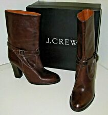 J. Crew Tenley Vachetta Espresso Brown Mid Calf High Heel Shoes Boots Womens 8.5