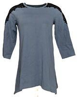 Denim & Co. Women's Top Sz 2XS (XXS) 3/4 Sleeve Scoop Neck Trapeze Blue A267911