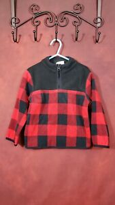 Crazy 8 Toddlers 3T Red Black Plaid Fleece Top Pullover Long Sleeve