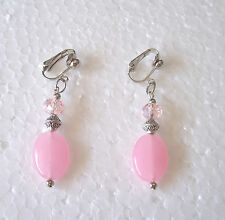 Silver rose quartz earrings - pink sparkly bead (pierced or clip)