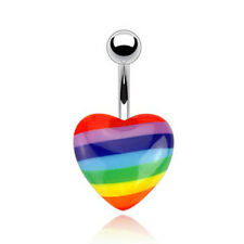 316L Surgical Steel Gay Pride Heart Belly Ring Dangle