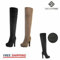 DREAM PAIRS Women's Thigh High Chunky Heel Platform Over The Knee Boots