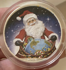 2002 Silver Eagle Santa Claus Silver Dollar $1 Coin Colorized In Airtite Capsule