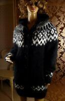 Mohair Handmade Hooded Black Icelandic Cardigan Jacket Sweater Coat XL- 2XL