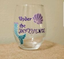 Hand Painted mermaid wine Glass