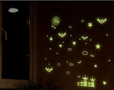 Glow In The Dark Halloween Wall Stickers Spooky Decals Bats Spiders Decoration