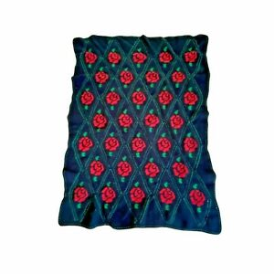 Vintage Afgan Knitted Crocheted Green Dimond Red Roses Black Throw Blanket