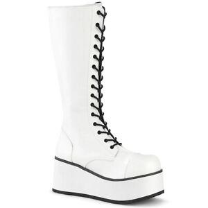 Demonia TRASHVILLE-502 Men's White Goth Cyber Cosplay Platform Knee High Boots