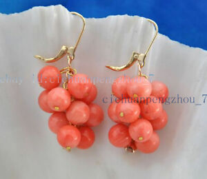 Lovely 8mm Pink Coral Round Beads Cluster Grape Dangle Leverback Earrings