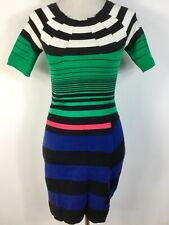 Karen Millen Multi Knit Striped Stretchy Short Sleeve Knee Pencil Dress Sz 1 6 8