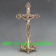 Old Chinese Handwork Tibet Silver Carved Cross & Jesus Statue