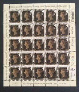 GB 2020 180TH ANNIVERSARY OF THE PENNY BLACK COMPLETE SHEET MNH