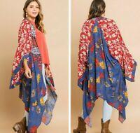 NWT UMGEE Women's Floral Patchwork Long Boho Kimono Open Cardigan size 1XL