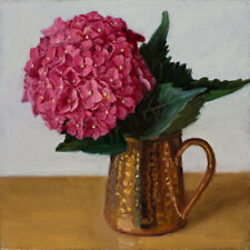 Original oil painting contemporary still life hydrangea flower 8x8 inch Y Wang