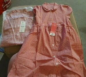Girls' School red gingham Dresses - Age 7-8. Asda George Bundle - 2 dresses BNWT