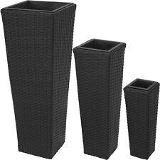 Set di 3 vasi in polyrattan giardino casa balcone arredo rattan vaso fiori nero