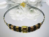 Halskette Würfelkette  Collier Würfel Hamatit gold schwarz bronze Strass 268u