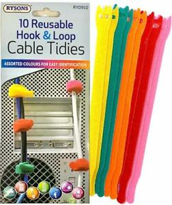 10 Pc Reusable Loop Cable Cord and Nylon Strap Hook Ties Tidy Organiser 5 Colors