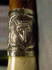 ANTIQUE HUNT WHIP SILVER FOX HEAD COLLAR.