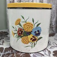 VINTAGE General Steel Wares Limited Floral TIN CANISTER Metal Flour Sugar