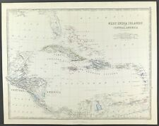 Map West India Islands c1869 Keith Johnston Royal Atlas Original Engraved