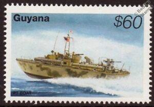 WWII Patrol Torpedo PT BOAT Attack Craft Warship Stamp (1995 Guyana)