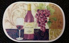 """Set of 4 Kitchen Vinyl NON CLEAR Placemats (18"""" x 12"""") Wine & Grapes, 1 Bottle"""