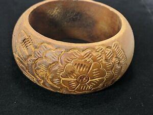 Brown Carved Floral Rose Wood Wide Rounded Bangle Bracelet