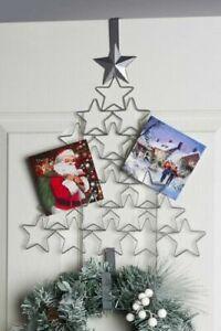 Silver Christmas Tree Metal Card Holder & Wreath Hanger Overdoor