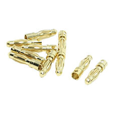 10PCS Gold Tone 4mm Male Banana Plug Bullet Connector Replacements