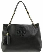 New Tory Burch Thea Tote Bag Black Leather