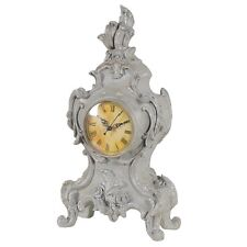 French Rococo Style Large Distressed Grey Ornate Mantel Clock H:43cm Unique