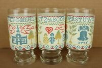 "Vintage Set of Cross Stitch Sampler Pattern Graphic Drinking Glasses - 5.5"" Tall"