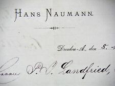 DRESDEN 1888, HANS NAUMANN, Litho, Rechnung Autograph48