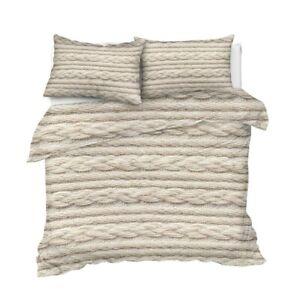 3D Beige Knit Knitted Crochet King Queen Twin Quilt Duvet Pillow Cover Bed Set