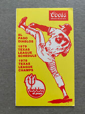 MiLB 1979 EL PASO DIABLOS Minor League Baseball Schedule Angels Affiliate COORS