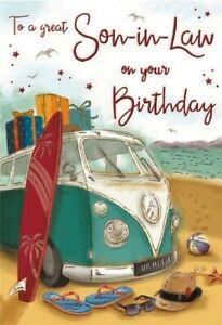To A Great Son in Law On Your Birthday Greeting Card - VW Campervan Theme